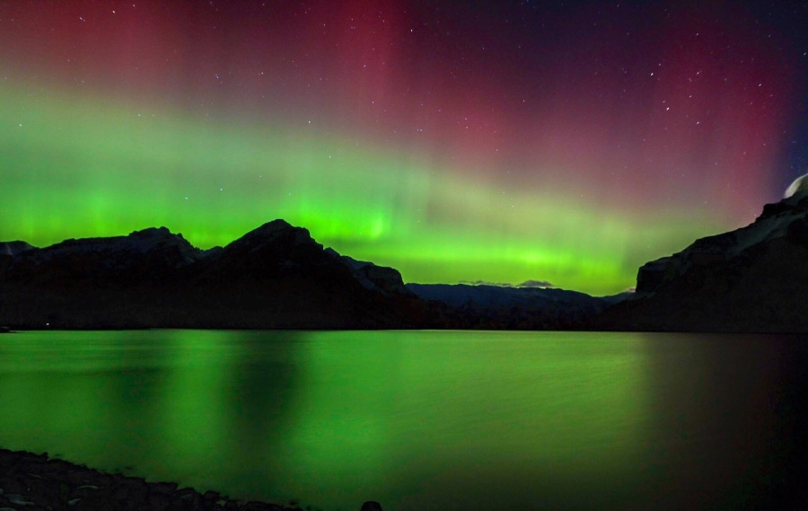 Banff winter northern lights